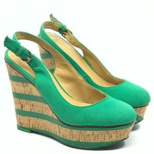 NINE WEST GREEN CANVAS & CORK SLINGBACK WEDGE
